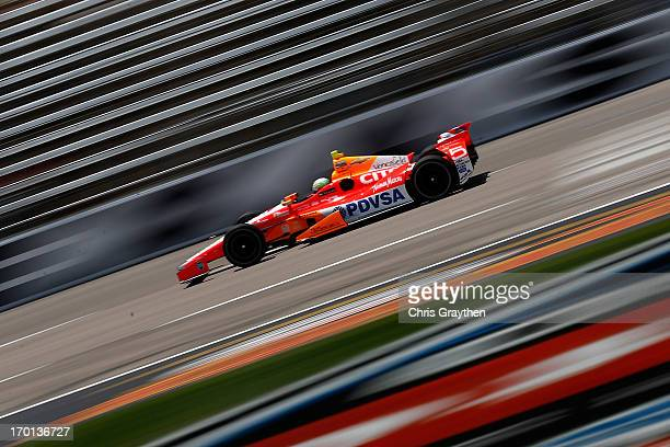 J Viso of Venezuela drives the Team Venezuela PDVSA/Andretti Autosport Chevrolet during practice for the IZOD IndyCar Series Firestone 550 at Texas...