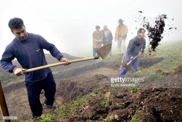 Bosnian explorer Semir Osmanagic observes excavation at Visocica hill near the Central Bosnian town of Visoko 25 October where he believes lay...