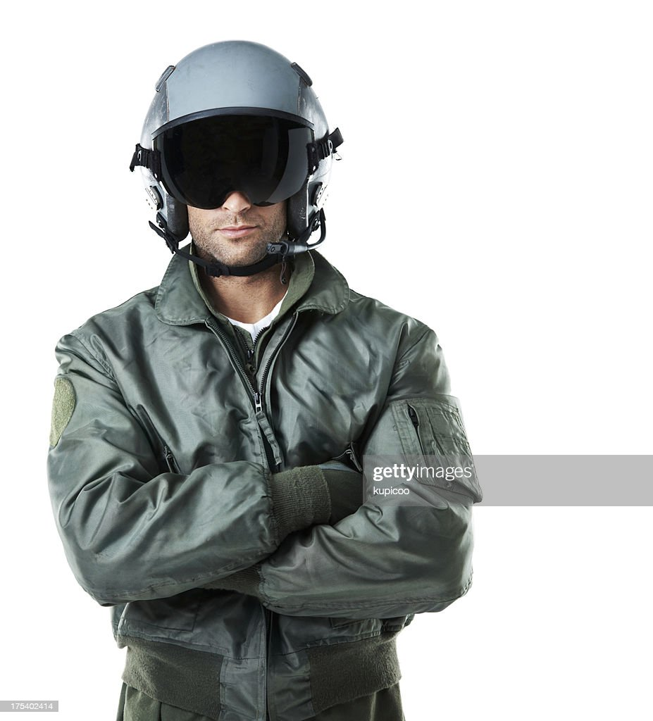 Visor down ... all set for flight! : Stock Photo