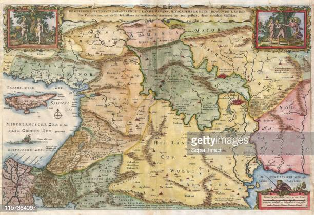 1657 Visscher Map of the Holy Land or the Earthly Paradise
