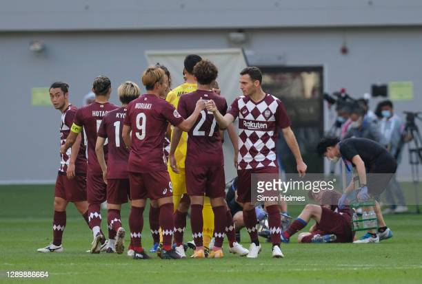 Vissel Kobe congratulate each toher after the AFC Champions League Round of 16 match between Vissel Kobe and Shanghai SIPG at the Khalifa...