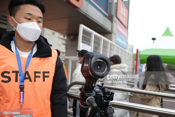 Vissel Kobe fans are tested for signs of the coronavirus ahead of the AFC Champions League Group G match between Suwon Samsung Bluewings and Vissel...