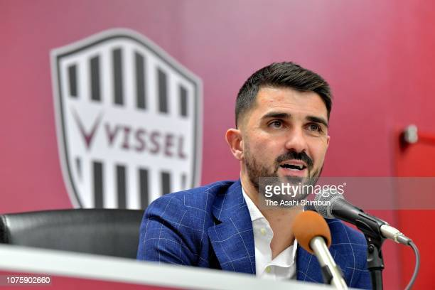Vissel Kobe new signing David Villa attends a press conference at the Noevir Stadium Kobe on December 01 2018 in Kobe Hyogo Japan