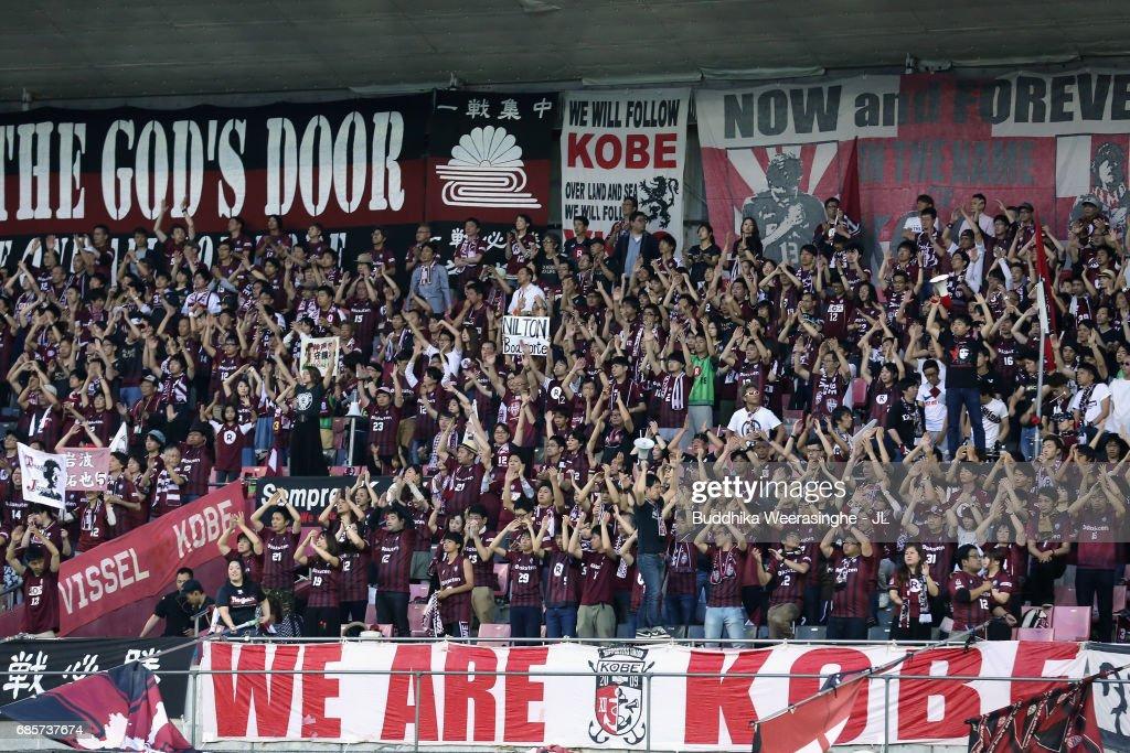 Vissel Kobe supporters cheer prior to the J.League J1 match between Vissel Kobe and FC Tokyo at Noevir Stadium Kobe on May 20, 2017 in Kobe, Hyogo, Japan.