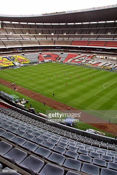 Vista del estadio Azteca en el cual se juega el partido entre America y Toluca valido por la ronda final de los cuartos de final del Torneo de...