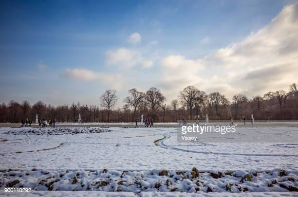 vistors and the statues in the great parterre, schönbrunn palace park, vienna, austria - vsojoy stock pictures, royalty-free photos & images