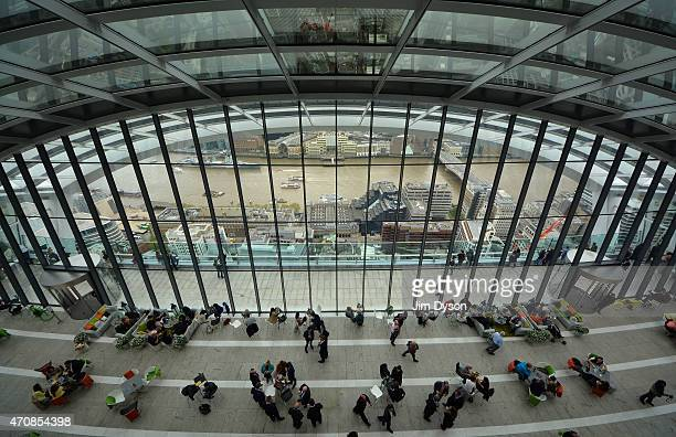 Vistors enjoy the views in the Sky Garden of 20 Fenchurch Street on April 22 2015 in London England Number 20 Fenchurch Street in the financial...