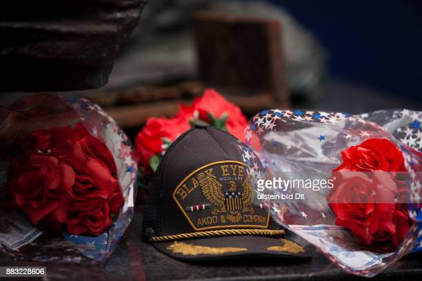 Vistors pay tribute near the September 11 memorial site in New York City