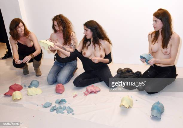 Visual artists Camille Moravi June McGrane Sarah Trouche and actress/model Zoe Duchesne perform during the 'Faccia A Faccia' Sarah Trouche...