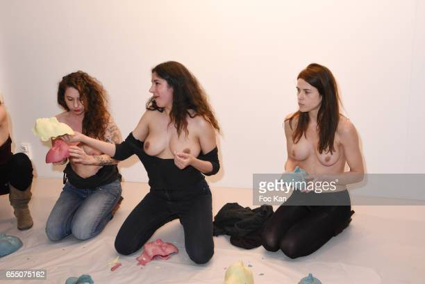 Visual artists Camille Moravi Sarah Trouche and actress/model Zoe Duchesne during the 'Faccia A Faccia' Sarah Trouche performance exhibition at...