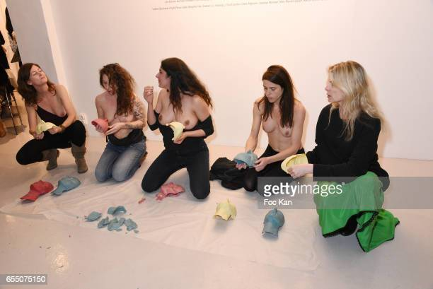 Visual artists June McGrane Camille Moravia Sarah Trouche actress/model Zoe Duchesne and Valerie Deschamps Wright from Women's Wear Daily during the...
