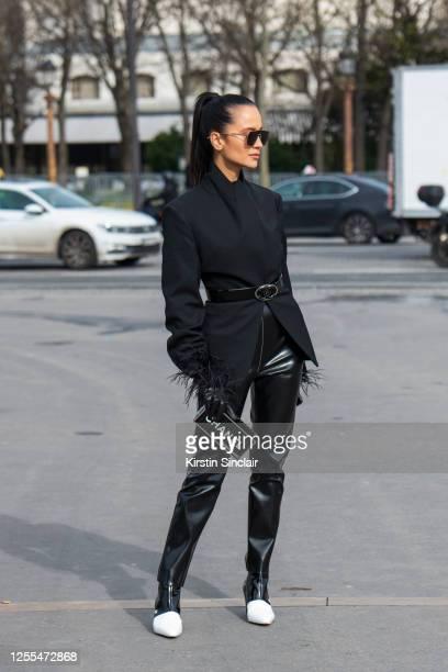 Visual consultant Anna Rosa Vitiello wears all Chanel with Bottega Veneta sunglasses on March 03, 2020 in Paris, France.