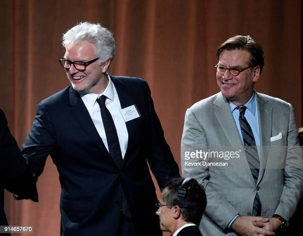 Visual effects artist Ben Morris and screenwriter Aaron Sorkin attend the 90th Annual Academy Awards Nominee Luncheon at The Beverly Hilton Hotel on...