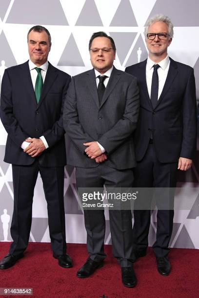 Visual effects artists Chris Corbould Mike Mulholland and Ben Morris attend the 90th Annual Academy Awards Nominee Luncheon at The Beverly Hilton...