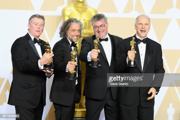 Visual effects artists Richard R Hoover Paul Lambert Gerd Nefzer and John Nelson winners of the Best Visual Effects award for ''Blade Runner 2049'...