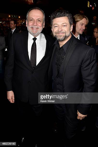 Visual effects supervisor Joe Letteri and actor Andy Serkis attend the premiere of New Line Cinema MGM Pictures and Warner Bros Pictures' The Hobbit...