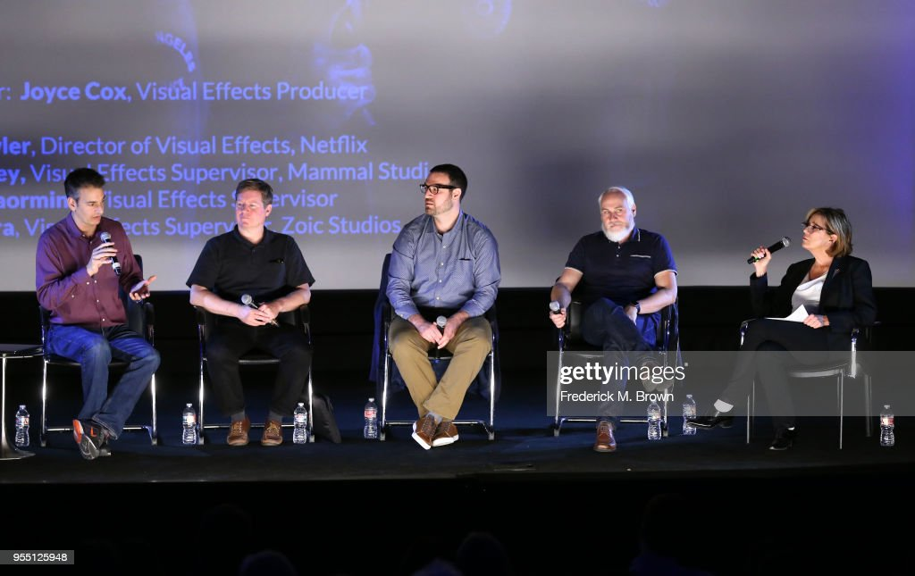 Visual Effects Supervisor Lou Pecora, Visual Effects Supervisor Greg Liegey, Visual Effects Supervisor Marcus Taormina, Netflix Director of Visual Effects Andy Fowler and Visual Effects Producer Joyce Cox speak onstage at the 2018 Film In California Conference at Los Angeles Center Studios on May 5, 2018 in Los Angeles, California.