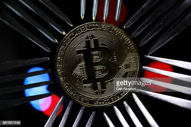 A visual representation of the digital Cryptocurrency Bitcoin on December 07 2017 in London England Cryptocurrencies including Bitcoin Ethereum and...