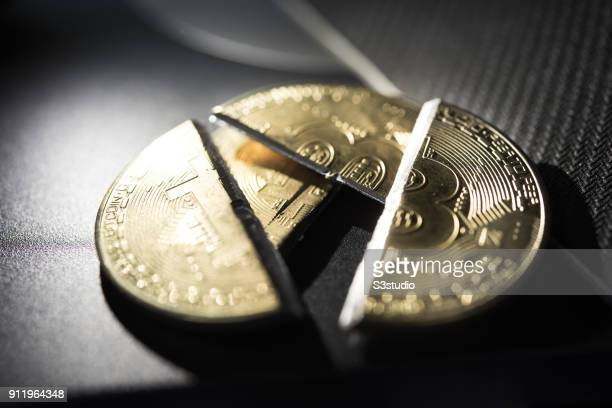 A visual representation of the digital Cryptocurrency Bitcoin which has been cut in half on January 29 2018 in Hong Kong Hong Kong The Price of...