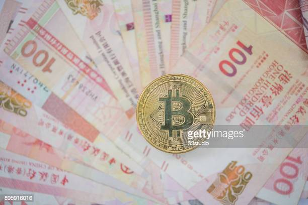 A visual representation of the digital Cryptocurrency Bitcoin with Hong Kong bill on December 13 2017 in Hong Kong Hong Kong The price of Bitcoin has...