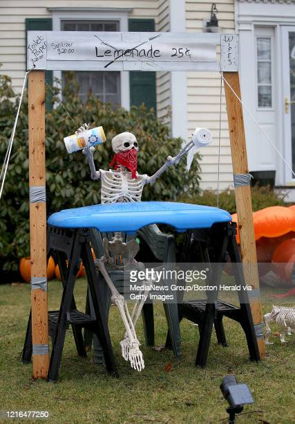 A visual scavenger hunt is seen on a lawn on March 29 2020 in Dedham MA