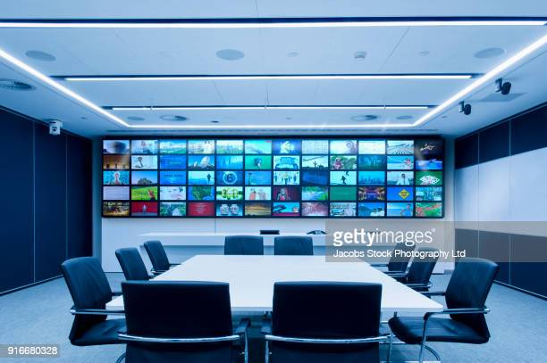 Visual screen in modern conference room