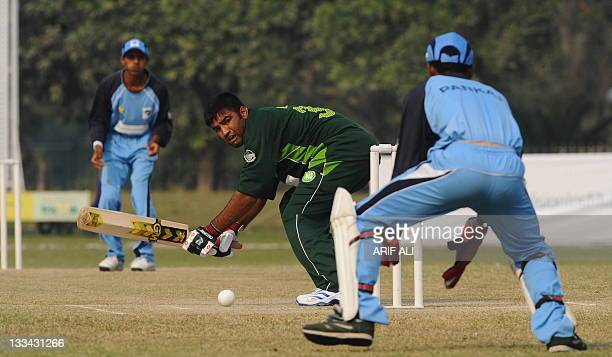 Visually impaired Pakistani batsman Muhammad Jamil plays a shot during the second International Twenty20 cricket match between Pakistan and India...