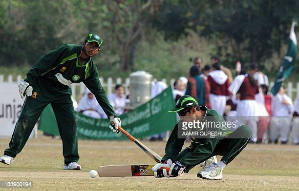 Visually impaired Pakistani cricketer Mohammad Zafar plays a shot during the first oneday international cricket match between Pakistan and India...