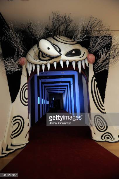 Visuals at the entrance to the exhibition space showcasing the work of artist and filmmaker Tim Burton at the Tim Burton media preview at The Museum...