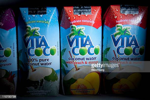 Vita Coco coconut water manufactured by Ducoco Produtos Alimenticios S/A is arranged for a photograph in Washington DC US on Wednesday March 23 2011...