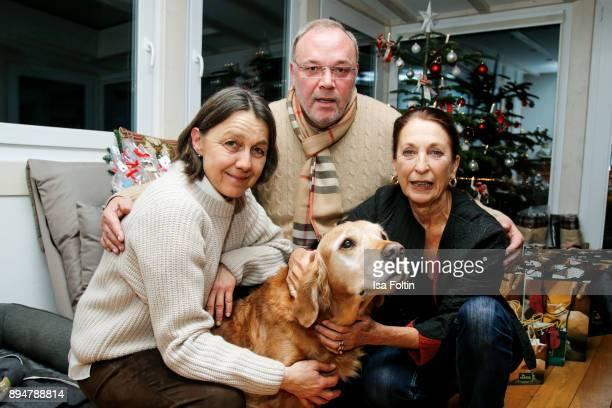 Vita founder Tatjana Kreidler, Erhard Priewe and German actress Daniela Ziegler with an assistance dog during the Vita Christmas Party on December...