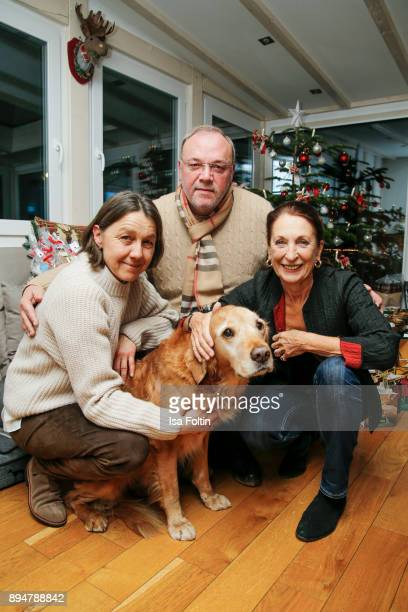 Vita founder Tatjana Kreidler Erhard Priewe and German actress Daniela Ziegler with an assistance dog during the Vita Christmas Party on December 17...