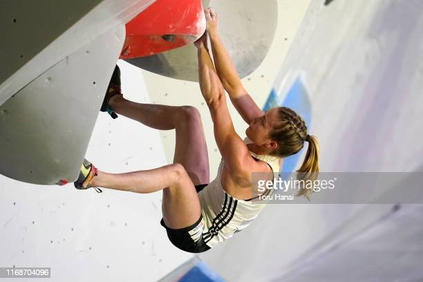 Vita Lukan of Slovenia competes in the Bouldering during Combined Women's Qualification on day eight of the IFSC Climbing World Championships at the...
