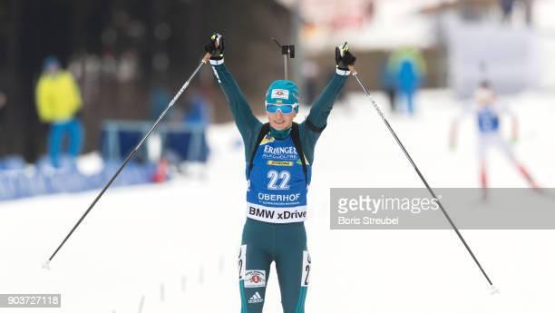 Vita Semerenko of Ukraine celebrates during the 10 km IBU World Cup Biathlon Oberhof women's Persuit on January 7 2018 in Oberhof Germany