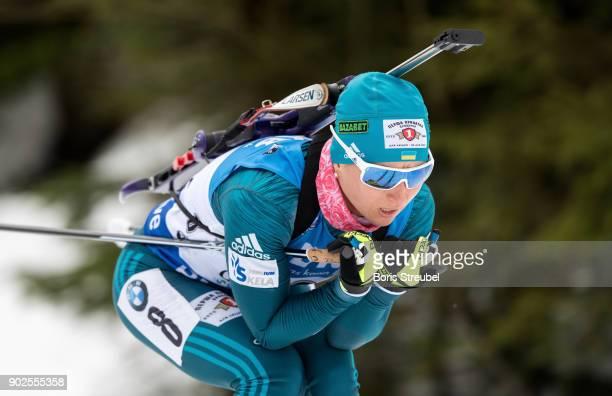 Vita Semerenko of Ukraine competes during the 75 km IBU World Cup Biathlon Oberhof women's Sprint on January 4 2018 in Oberhof Germany