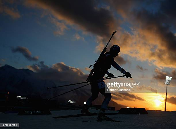 Vita Semerenko of Ukraine competes during the Biathlon Women's 4 x 6 km Relay on day 14 of the Sochi 2014 Winter Olympics at Laura Cross-country Ski...