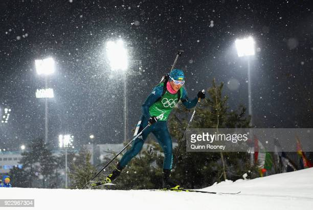 Vita Semerenko of Ukraine competes during the Women's 4x6km Relay on day 13 of the PyeongChang 2018 Winter Olympic Games at Alpensia Biathlon Centre...