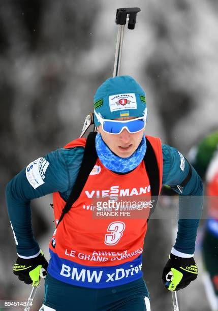 Vita Semerenko of Ukraine competes in the women's 10 km pursuit event at the IBU World Cup Biathlon in Grand Bornand on December 16 2017 / AFP PHOTO...