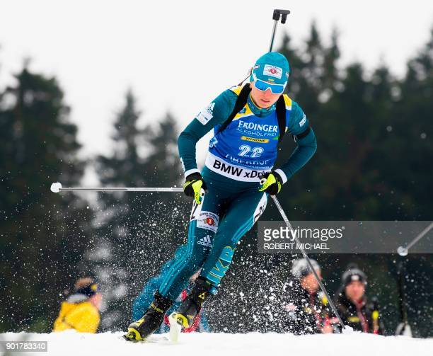 Vita Semerenko of Ukraine competes to place third in the women's 10 km pursuit event of the IBU Biathlon World Cup in Oberhof eastern Germany on...