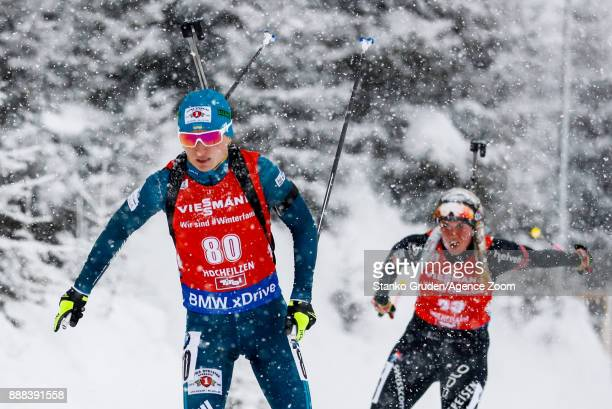 Vita Semerenko of Ukraine in action during the IBU Biathlon World Cup Men's and Women's Sprint on December 8 2017 in Hochfilzen Austria