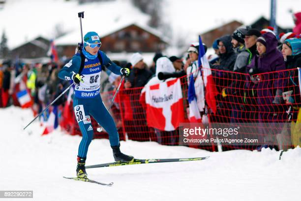 Vita Semerenko of Ukraine in action during the IBU Biathlon World Cup Women's Sprint on December 14 2017 in Le Grand Bornand France