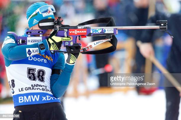 Vita Semerenko of Ukraine in action during the IBU Biathlon World Cup Women's Sprint on December 14 2017 in Le Grand Bornand France