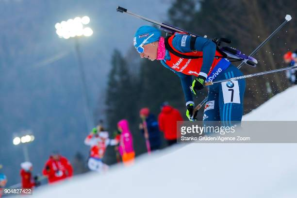 Vita Semerenko of Ukraine in action during the IBU Biathlon World Cup Men's and Women's Mass Start on January 14 2018 in Ruhpolding Germany