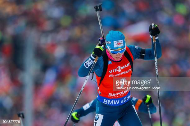 Vita Semerenko of Ukraine in action during the IBU Biathlon World Cup Men's and Women's Mass Start on January 14 2018 in Ruhpolding Germany