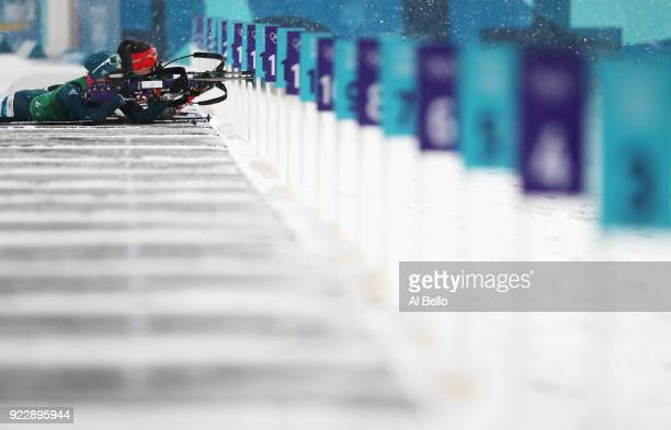 Vita Semerenko of Ukraine shoots during the Women's 4x6km Relay on day 13 of the PyeongChang 2018 Winter Olympic Games at Alpensia Biathlon Centre on...