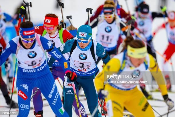 Vita Semerenko of Ukraine takes 2nd place during the IBU Biathlon World Cup Men's and Women's Relay on December 10 2017 in Hochfilzen Austria