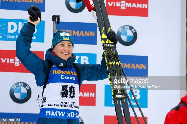 Vita Semerenko of Ukraine takes 3rd place during the IBU Biathlon World Cup Women's Sprint on December 14 2017 in Le Grand Bornand France
