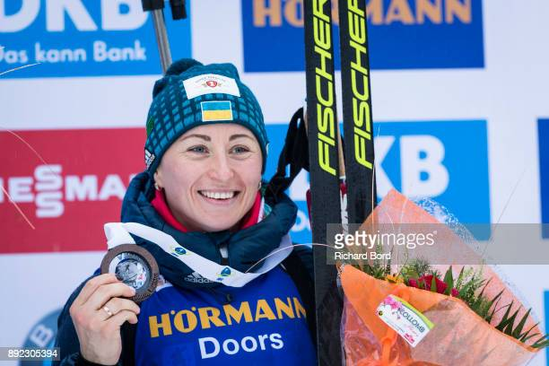 Vita Semerenko of Ukraine takes the 3rd place during the IBU Biathlon World Cup Women's Sprint on December 14 2017 in Le Grand Bornand France