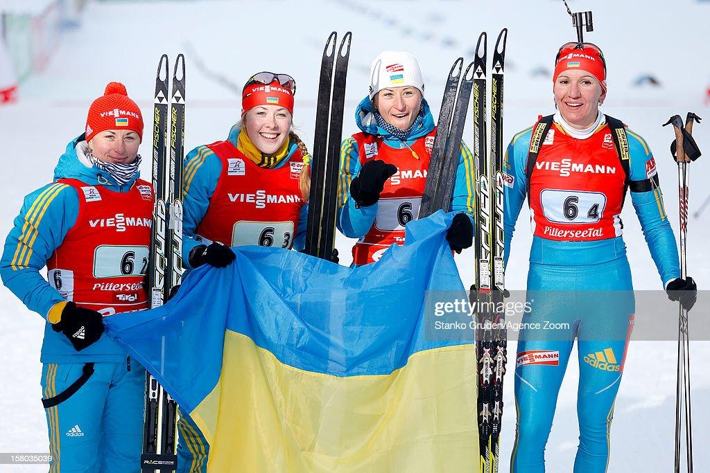 Vita Semerenko, Valj Semerenko, Dzhyma Juliya, Olena Pidhrushna of Ukraine takes 2nd place during the IBU Biathlon World Cup Women's Relay on December 09, 2012 in Hochfilzen, Austria.