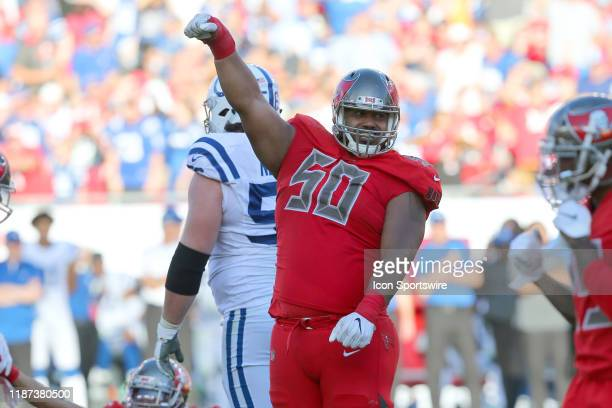 Vita Vea of the Bucs signals his satisfaction during the regular season game between the Indianapolis Colts and the Tampa Bay Buccaneers on December...